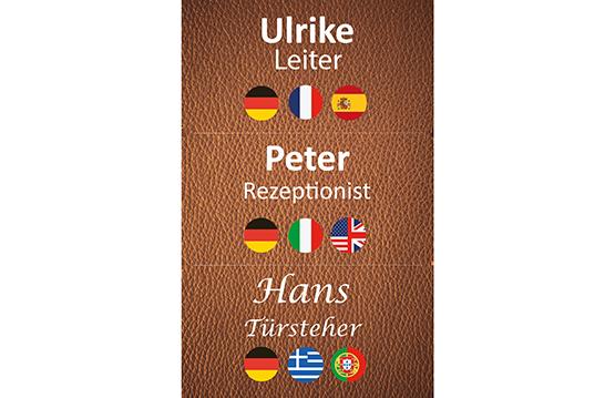 Namensschild für das Personal Edikio Guest