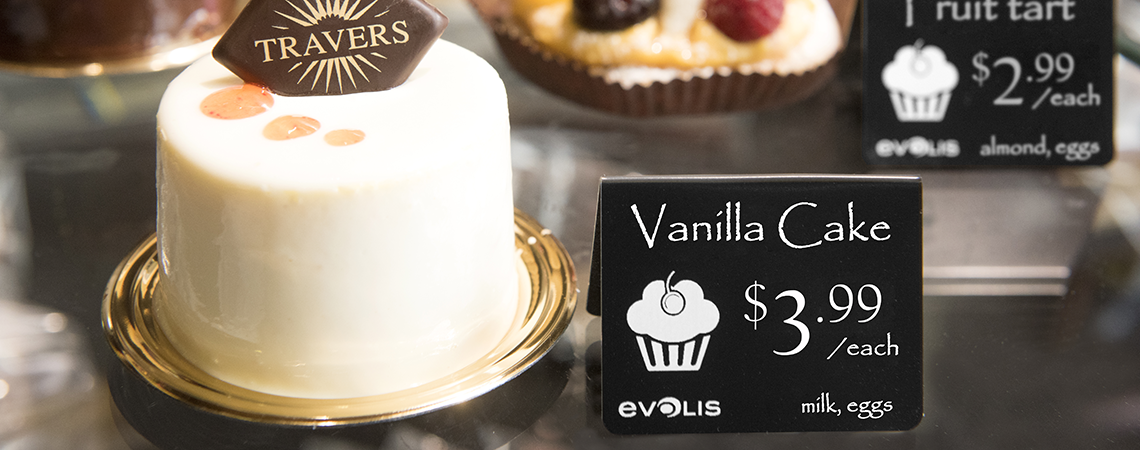 Baked treats with easy-to-read price card allergy displays